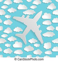 avião, com, papel, nuvens, ligado, um, azul, ar, seamless, fundo