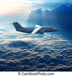 avião comercial, céu