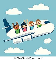 avião, crianças, viajando
