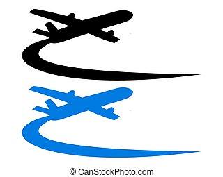 avião, desenho, símbolo