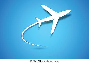 avião, desligado, levando
