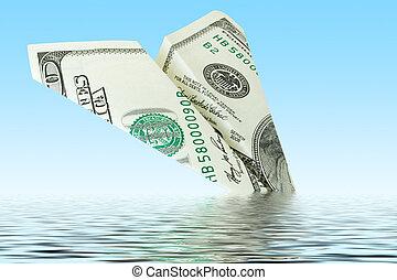 avião dinheiro, destruição