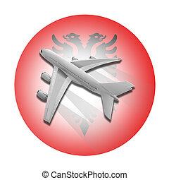 avião, e, albânia, flag.