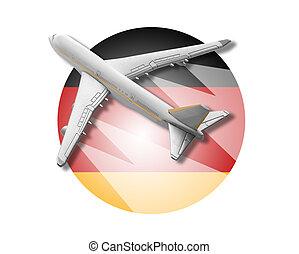 avião, e, alemanha, flag.