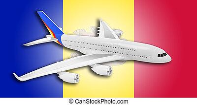 avião, e, andorra, flag.