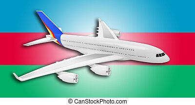 avião, e, azerbaijão, flag.