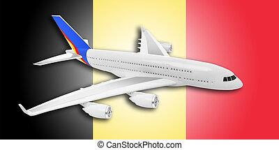 avião, e, bélgica, flag.
