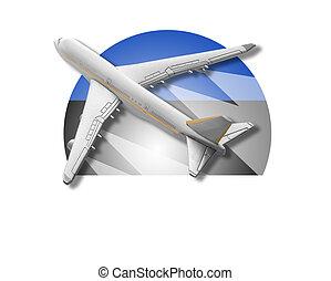 avião, e, estónia, flag.