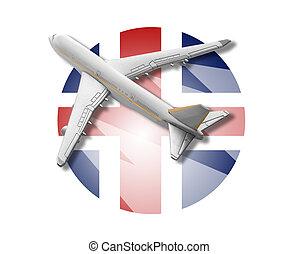 avião, e, islândia, flag.