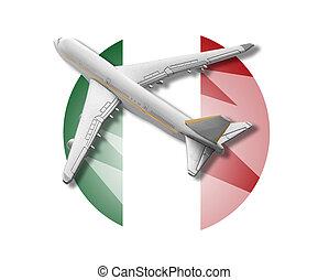 avião, e, itália, flag.