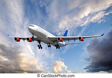 avião, e, nuvens