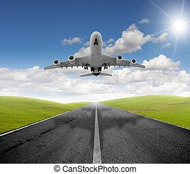 avião, e, partida
