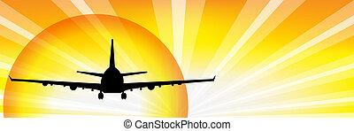 avião, e, sol