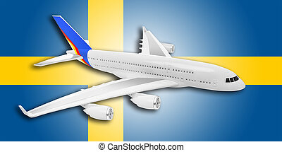 avião, e, suécia, flag.