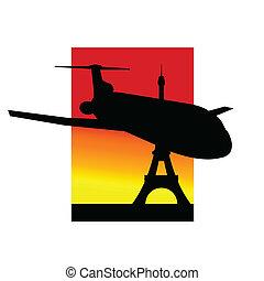 avião, eiffel, silueta, torre