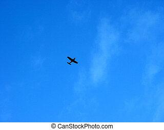avião, em, a, céu