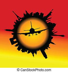 avião, em, a, centro