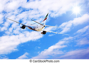 avião, em, mosca, ligado, a, céu, com, nuvens