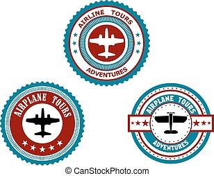 avião, excursões, emblemas, circular