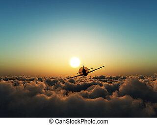 avião hélice, céu