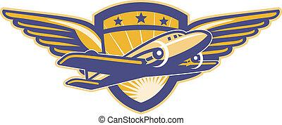 avião hélice, retro, asas, escudo