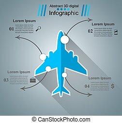 avião, infographic., negócio, ícone