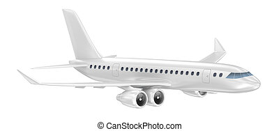 avião, isolado, ligado, white., meu, próprio, desenho