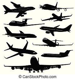 avião jato, aeronave, ar, silhuetas, vetorial