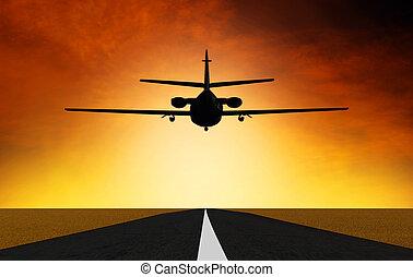 avião, ligado, a, pôr do sol, fundo