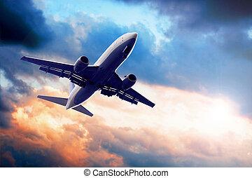 avião, ligado, céu azul
