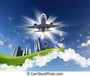 avião, ligado, céu azul, fundo