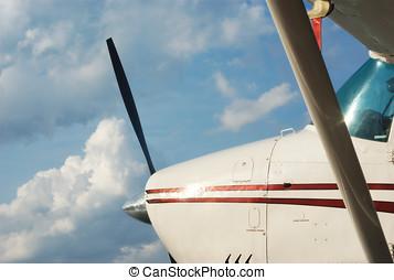 avião, ligado, céu azul, privado, fligh