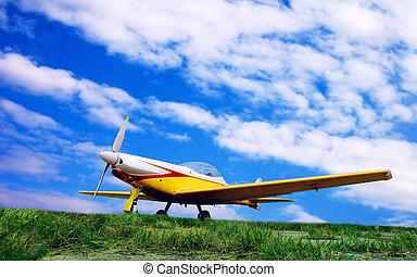 avião, ligado, céu ocaso