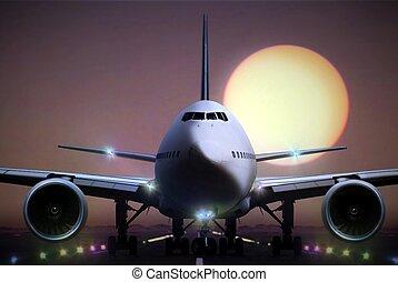 avião, ligado, fugitivo, durante, pôr do sol