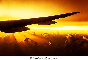 avião, ligado, pôr do sol