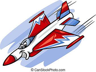 avião, lutador, caricatura, ilustração, jato