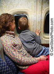avião, mãe, criança