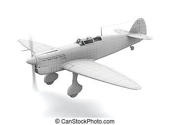 avião, modelo, 3d