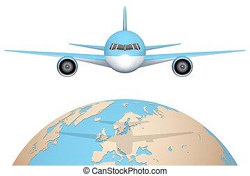 avião, moscas, sobre, globe.