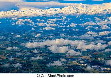 avião, nuvens, acima, vista