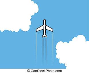 avião, nuvens
