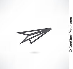 avião, papel, ícone