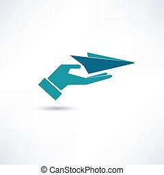 avião papel, ícone