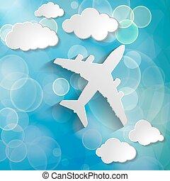 avião papel, com, papel, nuvens, ligado, um, azul, ar, fundo, com, b