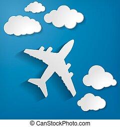 avião papel, com, papel, nuvens, ligado, um, azul, ar, fundo