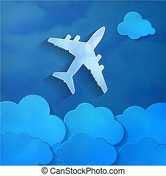avião papel, com, papel, nuvens, ligado