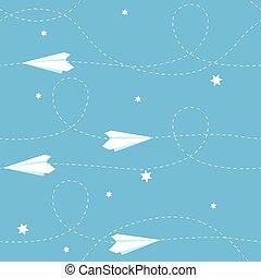 avião, papel, seamless, fundo