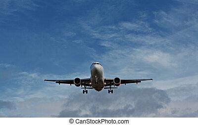 avião passageiro, aproximação, final