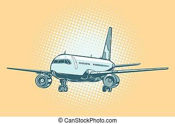 avião passageiro, aterragem