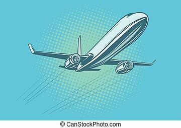 avião passageiro, céu